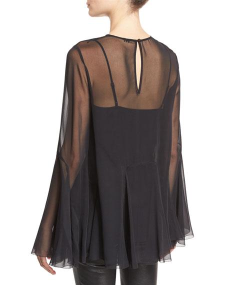 The Influence Bell-Sleeve Silk Blouse, Black