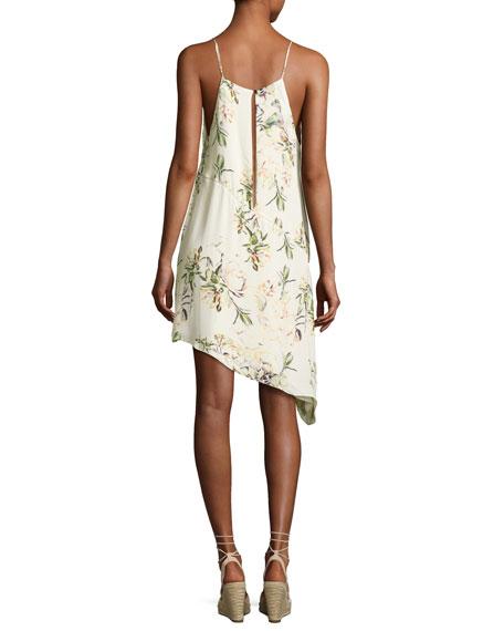 The Waterfall Floral Silk Slip Dress, White/Green