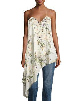 The Darling Floral Silk Asymmetric Tank, White/Green