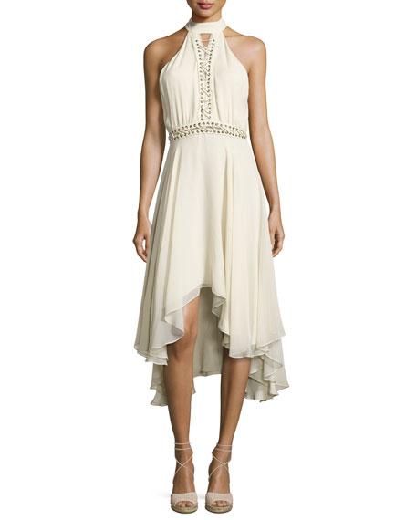 The Free Spirit Lace-Up Silk Dress, Antique White