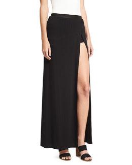 The Midi Slayer Stretch Velvet Skirt, Black