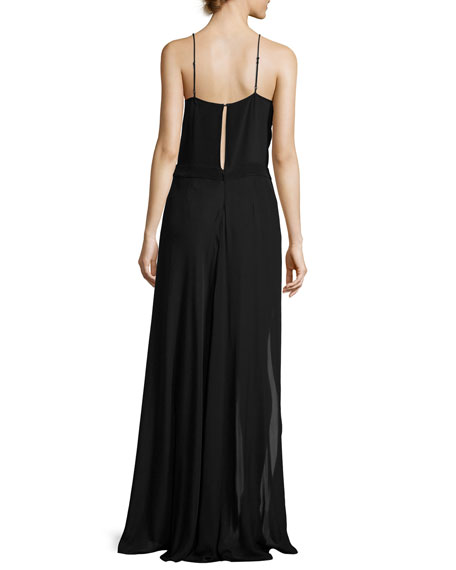 Shia Sleeveless Skirted Silk Jumpsuit, Black