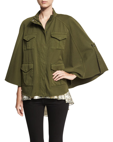 Promise Me Twill Poncho, Olive