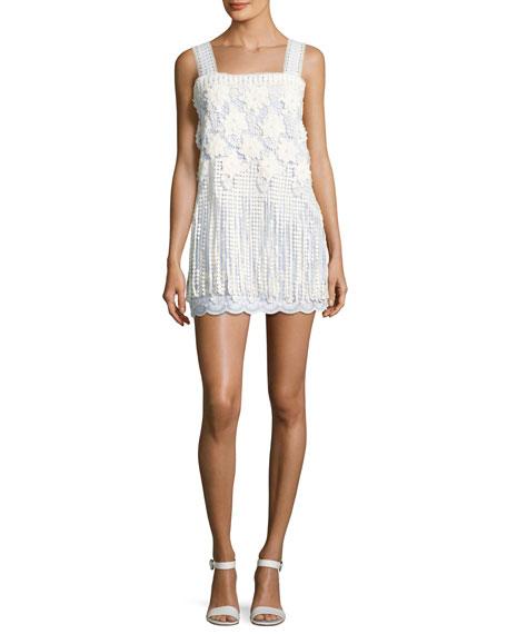 Alexis Fulton Sleeveless Fringe Lace Minidress, Baby Blue/White