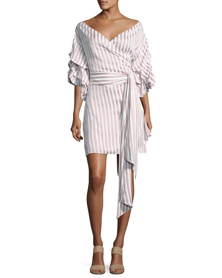 Maren Striped Off-the-Shoulder Wrap Dress