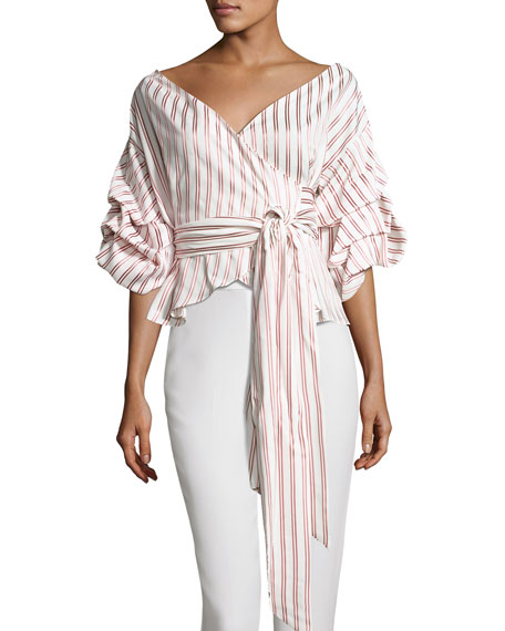 Alexis Armelle Off-The-Shoulder Striped Shirt, Multipattern