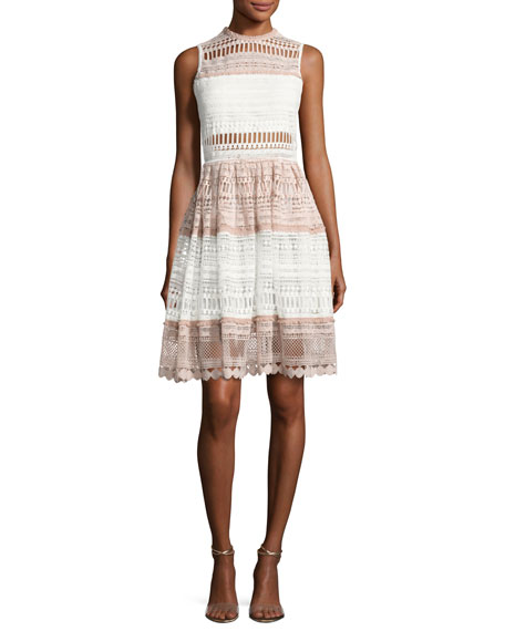 Sleeveless Fit & Flare Lace Dress, White/Pink