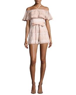Araceli Off-the-Shoulder Lace Romper, White/Pink