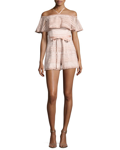 Araceli Off-the-Shoulder Lace Romper, White/Pink