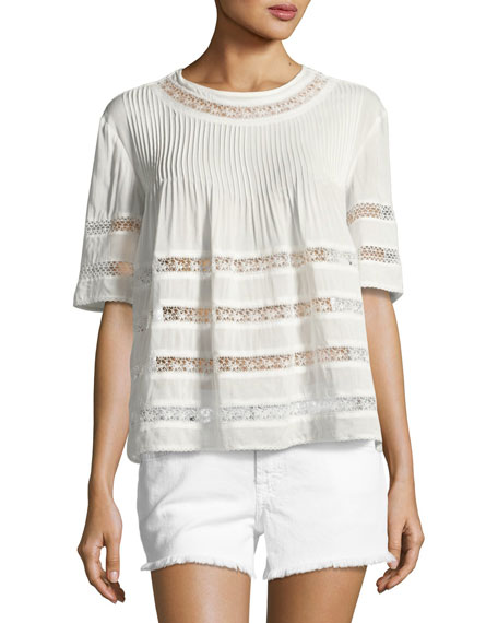 Eniko Short-Sleeve Pleated Top, White