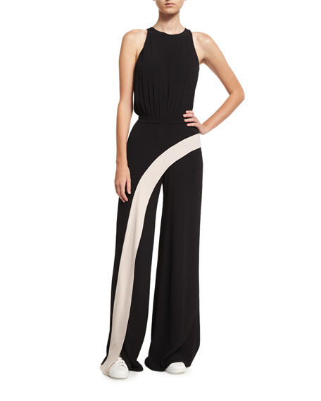 Alexis Deanne Sleeveless Contrast-Stripe Wide-Leg Jumpsuit, Black