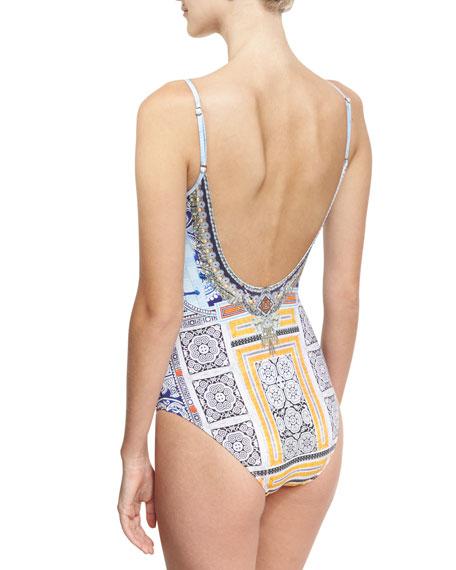 Round-Neck One Piece Swimsuit