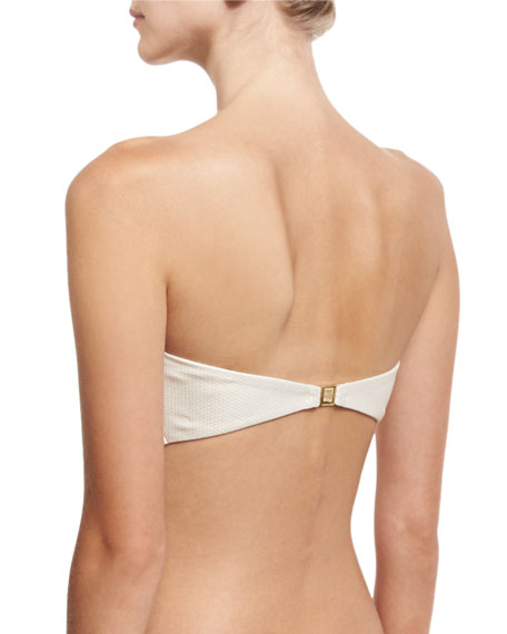 Antibes Lace-Up Scalloped Bandeau Swim Top, Metallic Champagne