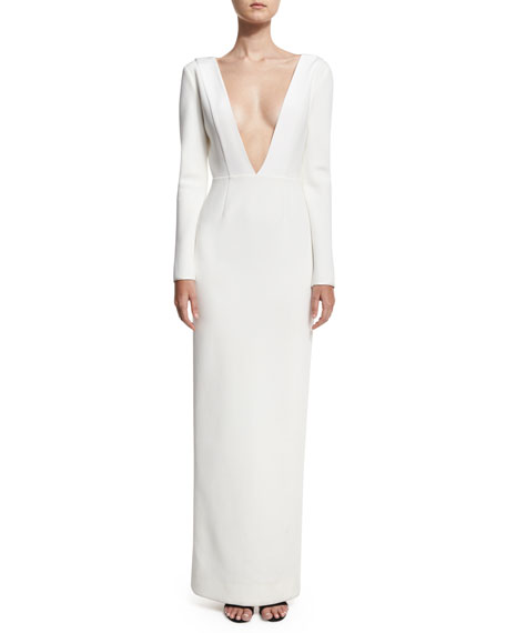 Plunging V-Neck Long-Sleeve Tailored Gown, White