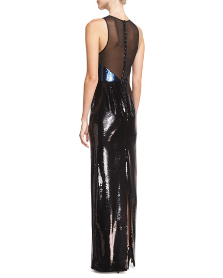 Sequined Panel High-Neck Sleeveless Gown, Blue/Black