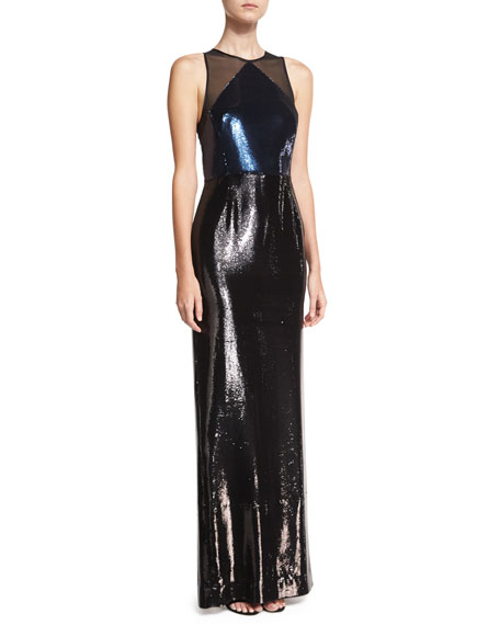 Diane von Furstenberg Sequined Panel High-Neck Sleeveless Gown,