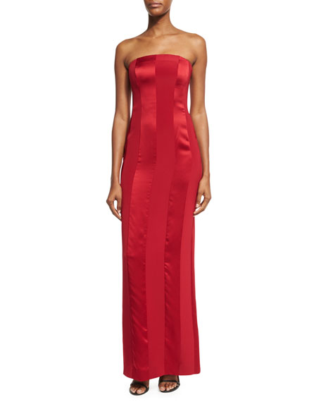 Diane von Furstenberg Tonal Satin-Stripe Strapless Tailored Gown,