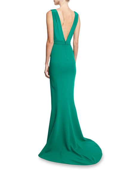 Deep V Sleeveless Tailored Gown, Green