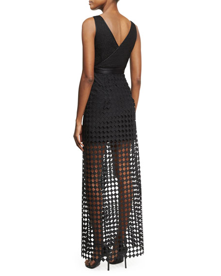 Asymmetric Sleeveless Lace Gown, Black