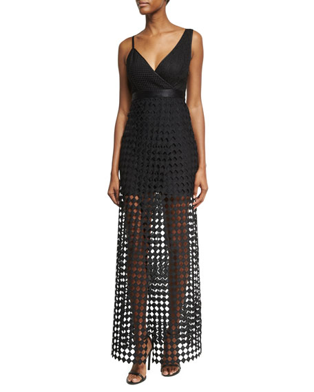 Diane von Furstenberg Asymmetric Sleeveless Lace Gown, Black