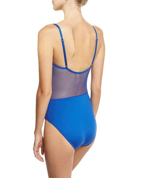 Lingerie Mesh V-Neck One-Piece Swimsuit, Blue