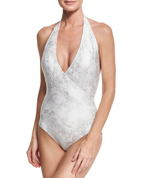 Carmen Marc Valvo Surplice Halter One-Piece Swimsuit, White