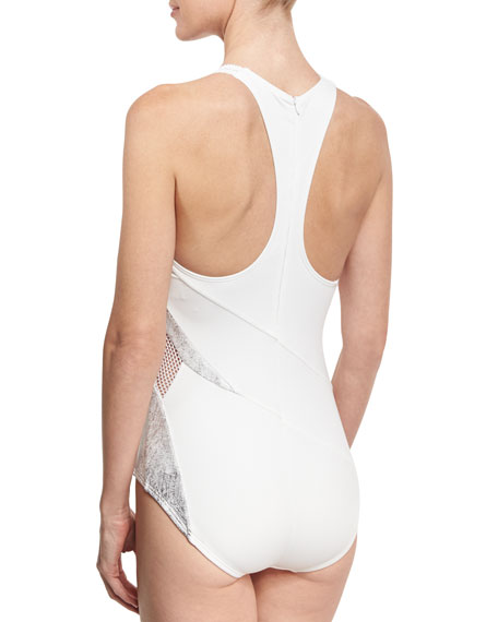 Paneled Mesh High-Neck One-Piece Swimsuit, White