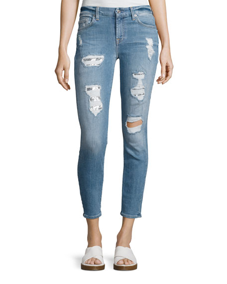 7 For All Mankind Destroyed Sequin Skinny Ankle