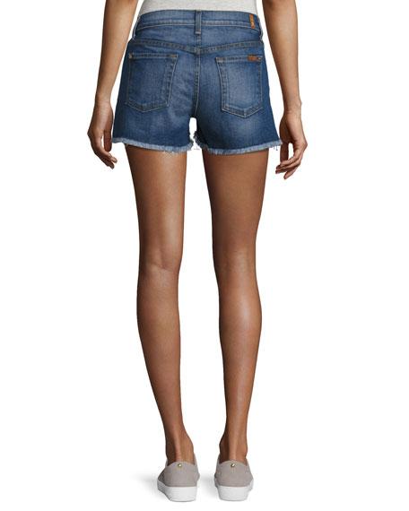 Cutoff Denim Shorts w/Step Hem, Blue