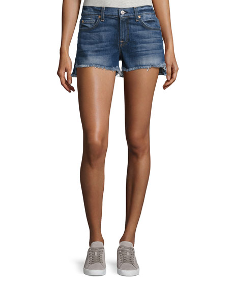 7 For All Mankind Cutoff Denim Shorts w/Step