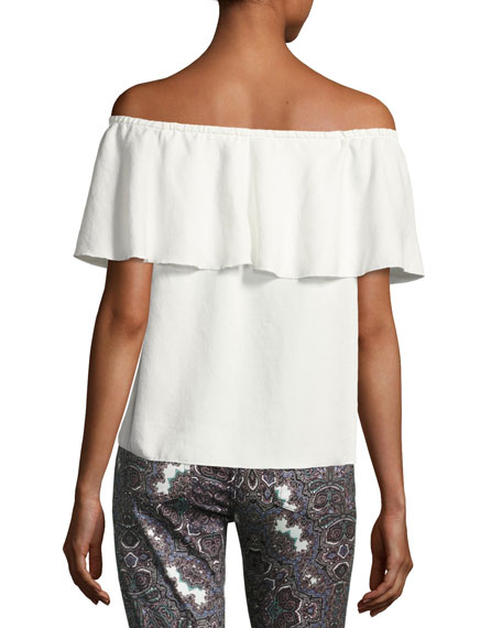 Off-the-Shoulder Ruffled Blouse, White