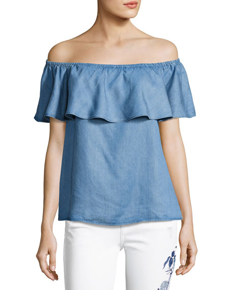 Off-The-Shoulder Ruffle Denim Top