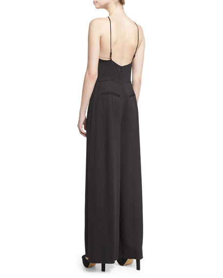 Sleeveless Stretch Crepe Wide-Leg Jumpsuit, Black