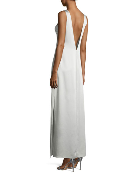 Pearl Sleeveless Satin Slip Gown, Light Gray