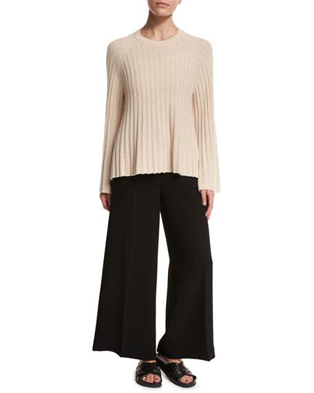Kensington Cropped Wide-Leg Trousers, Black