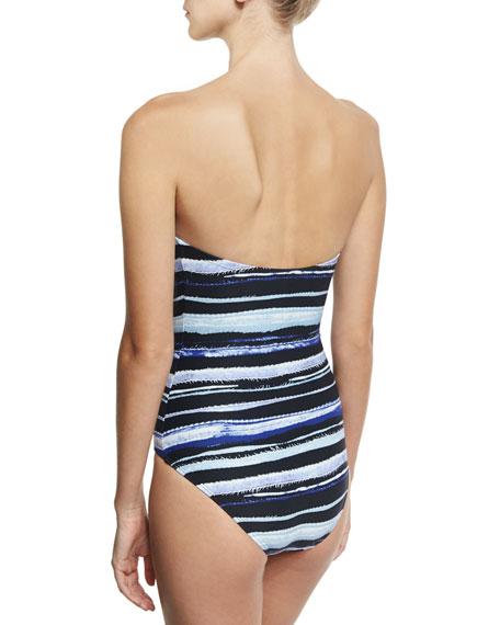 Bandeau One-Piece Swimsuit w/ Barbell, Blue Pattern