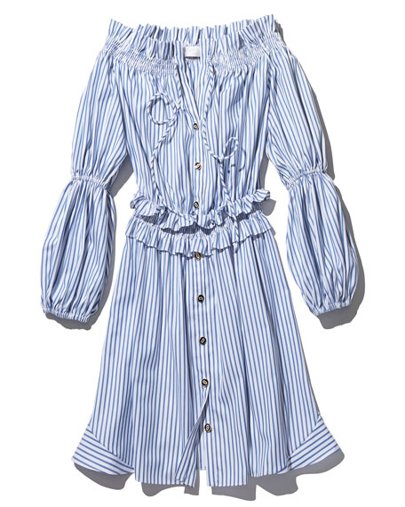 Peasant Striped Off-the-Shoulder High-Low Dress, Blue/White