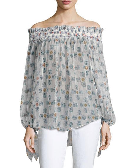 Caroline Constas Lou Off-the-Shoulder Printed Chiffon Top