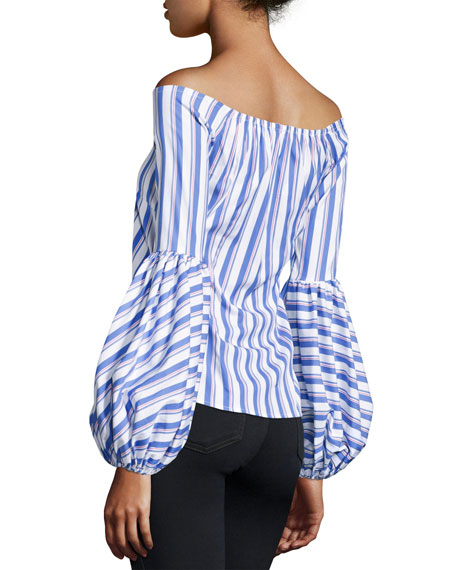 Gisele Off-the-Shoulder Long-Sleeve Striped Blouse, Blue