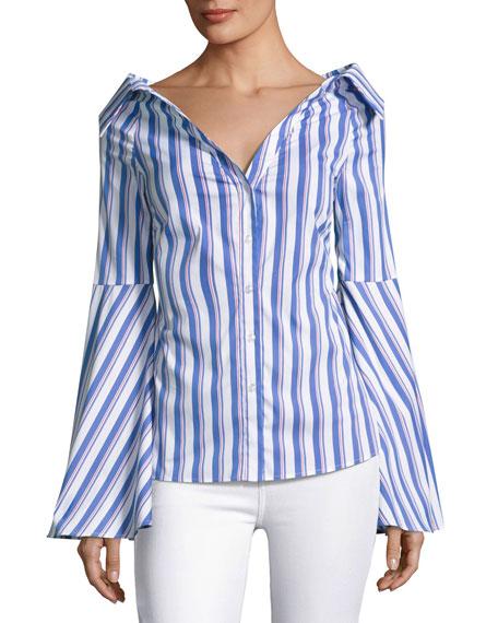 Persephone Striped Décolleté Shirt, Blue