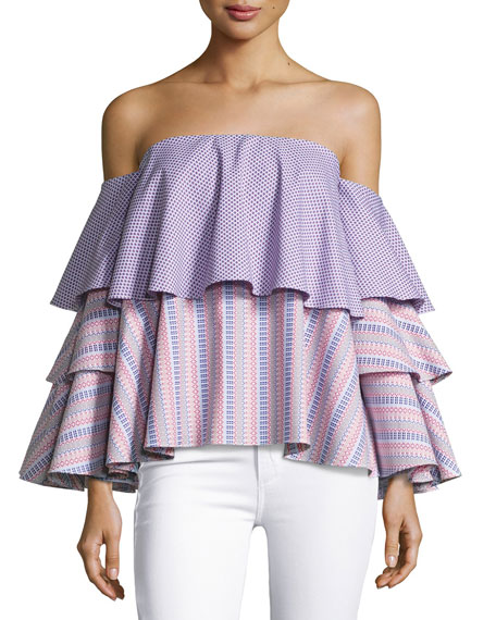 Carmen Off-The-Shoulder Printed Blouse
