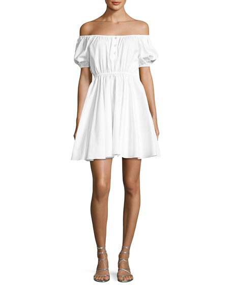 Caroline Constas Bardot Off-The-Shoulder Sundress