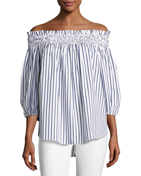 2f7a00c2351 Caroline Constas Lou Off-the-Shoulder Stripe Cotton Top, Blue/White