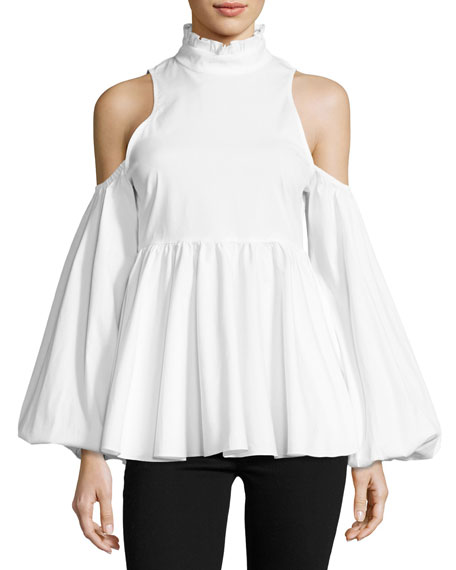 Caroline Constas Cold-Shoulder Ruffle Top, White