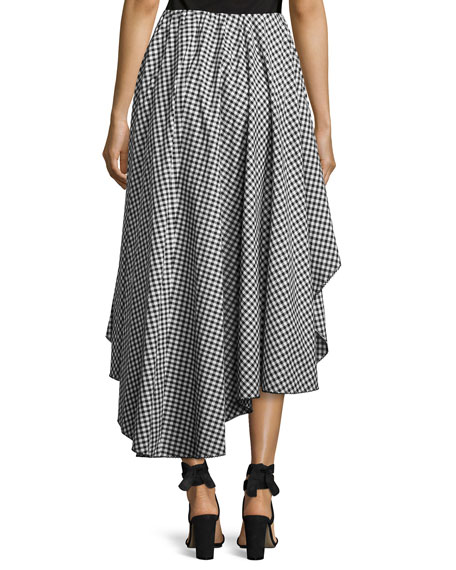 Adelle Cotton Gingham Skirt, Black/White