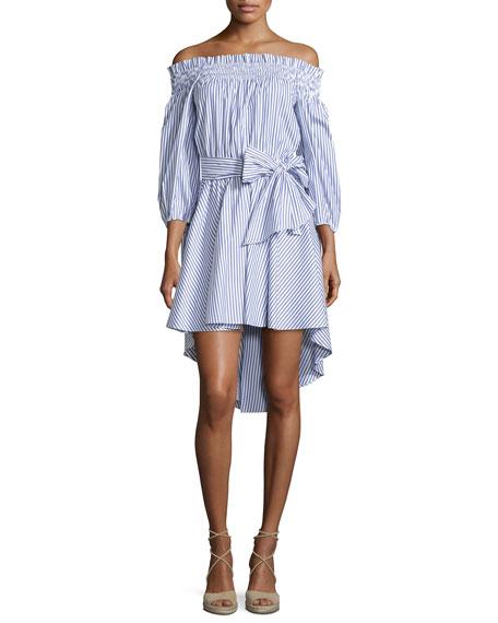 Caroline Constas Lou Off-The-Shoulder Striped Dress