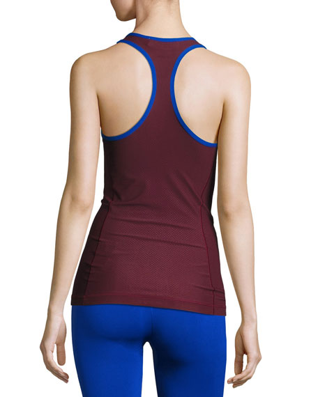 Training Miracle Sculpt Tank Top, Cherry Wood/Bold Blue