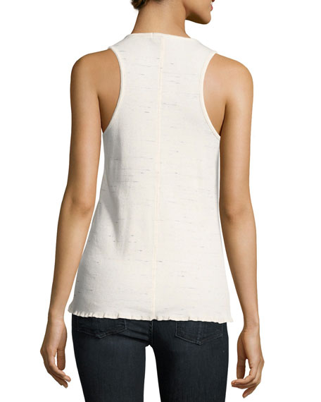 Tyler Scoop-Neck Snap-Front Tank Top, White
