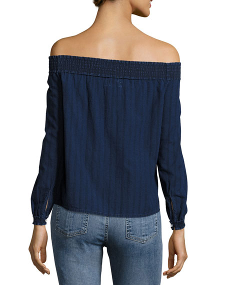 Drew Off-the-Shoulder Top, Indigo