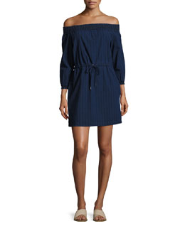 Drew Off-the-Shoulder Dress, Indigo